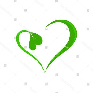Greenheart Transparent Vector: Green Heart Nature Logo Vector Illustration