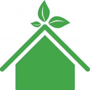 Roof Line Art Vector: Green Sticker House With Leaves Above The Roof Vector