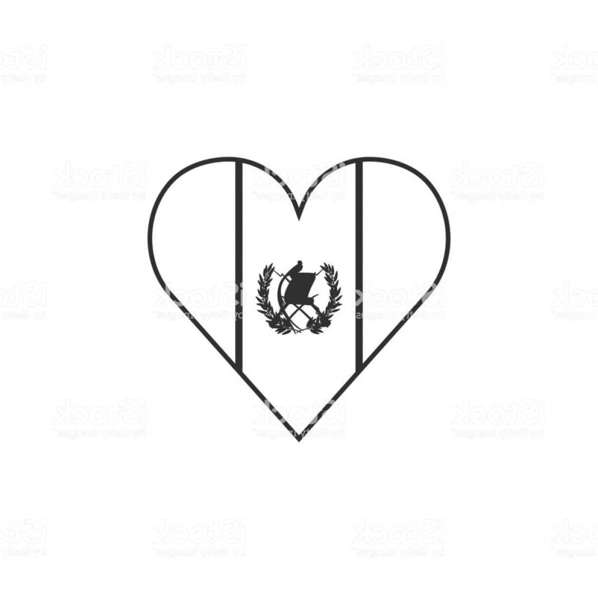 Slanted Heart Vector: Guatemala Flag Icon In A Heart Shape In Black Outline Flat Design Gm