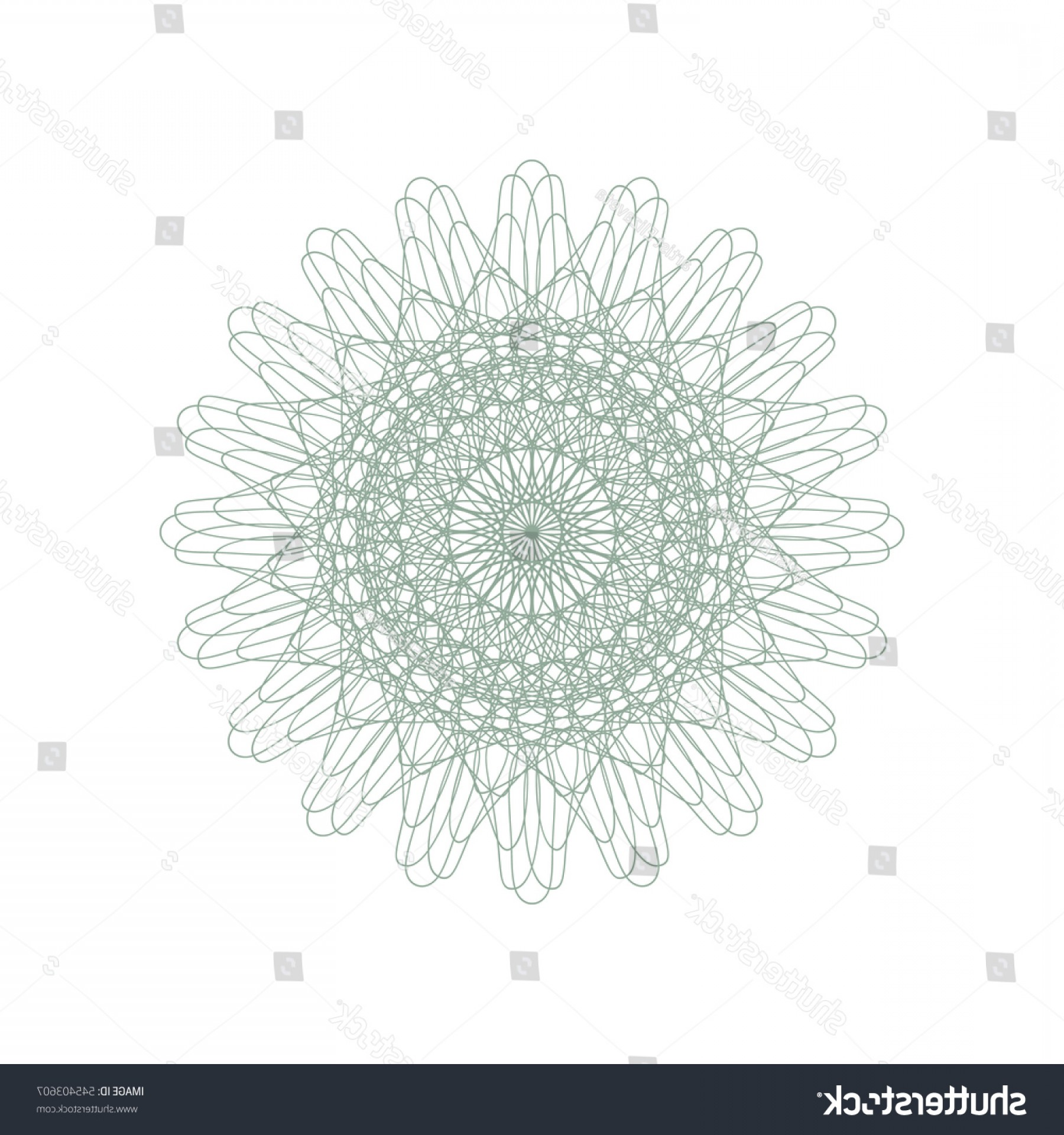Security Vector Patterns: Guilloche Rosette Element Digital Watermark Security