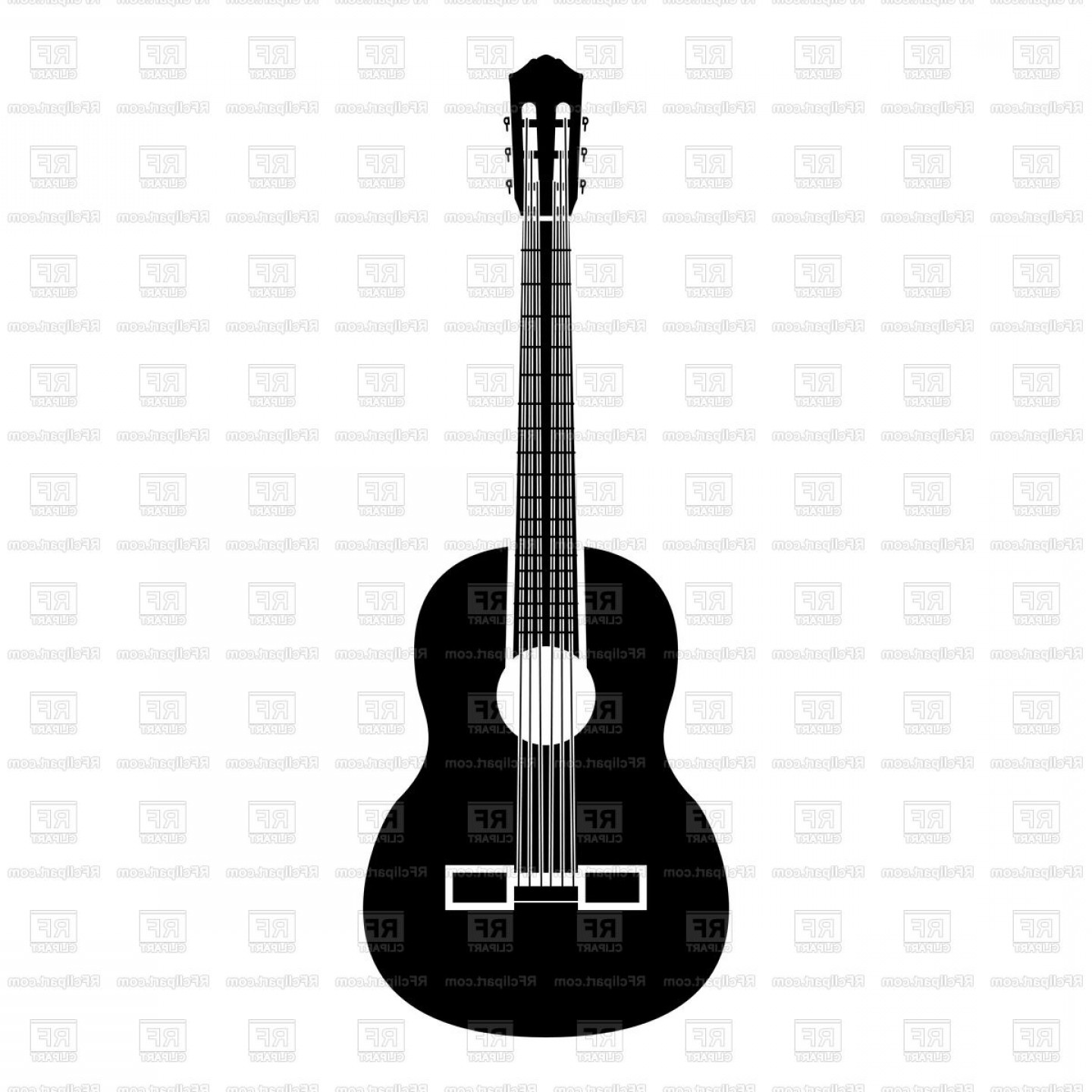 Vector Guitar Clip Art Black And White: Guitar Icon Black Color Illustration Isolated Vector Clipart
