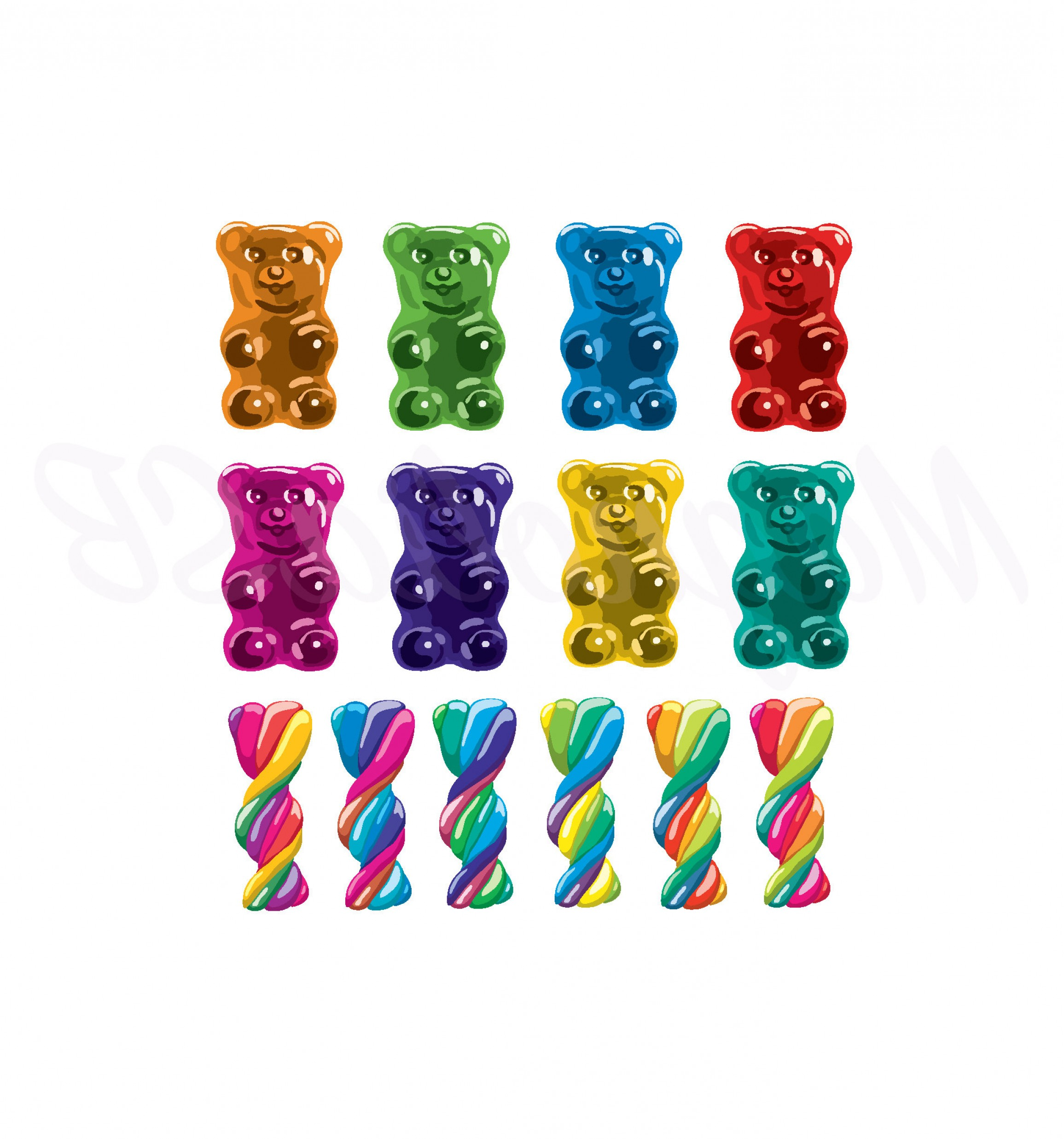 Gummy Bear Vector: Gummy Bears And Twister Candies Digital
