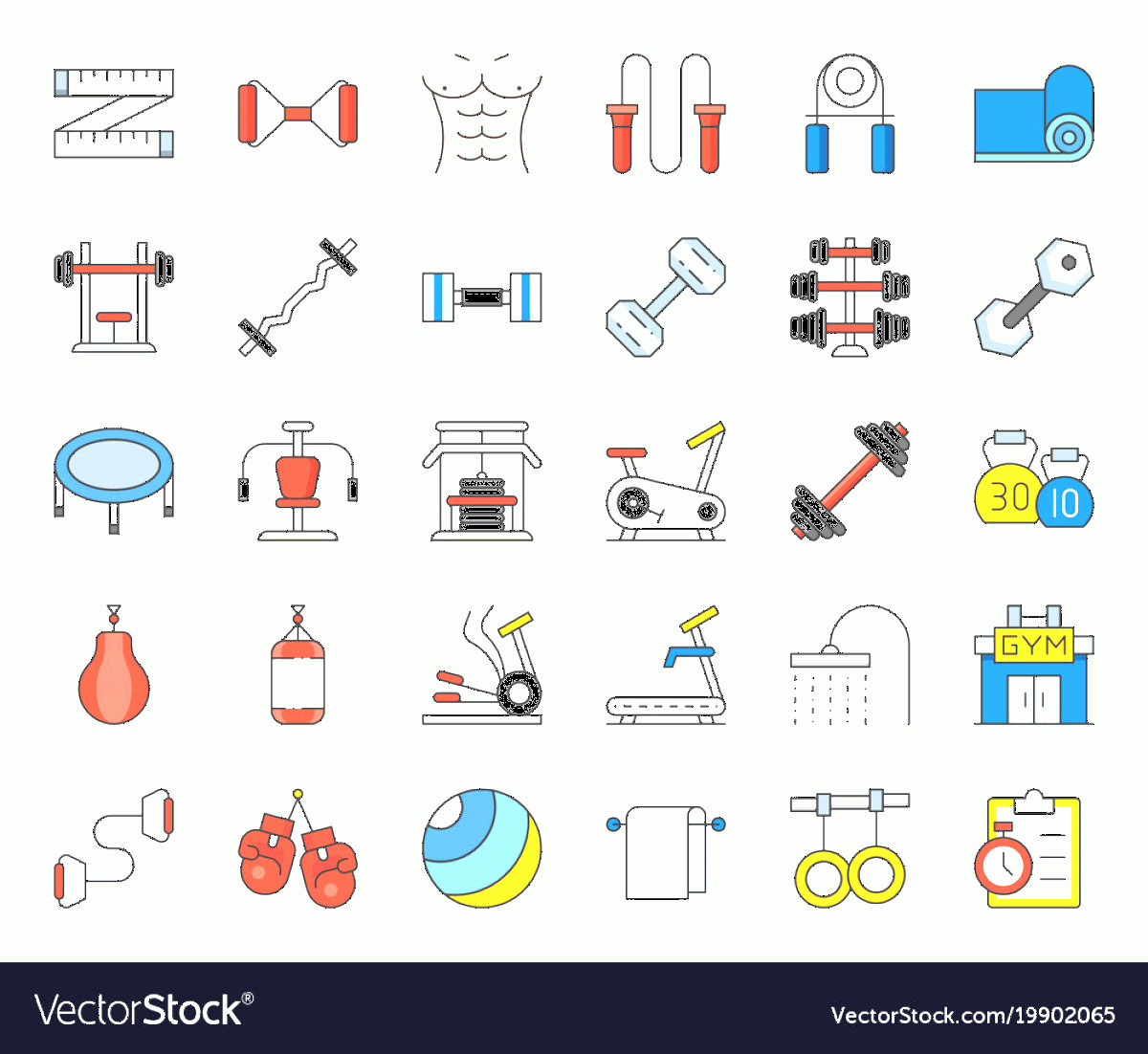 Vector Gym Equipment: Gym Equipment And Fitness Icon Vector