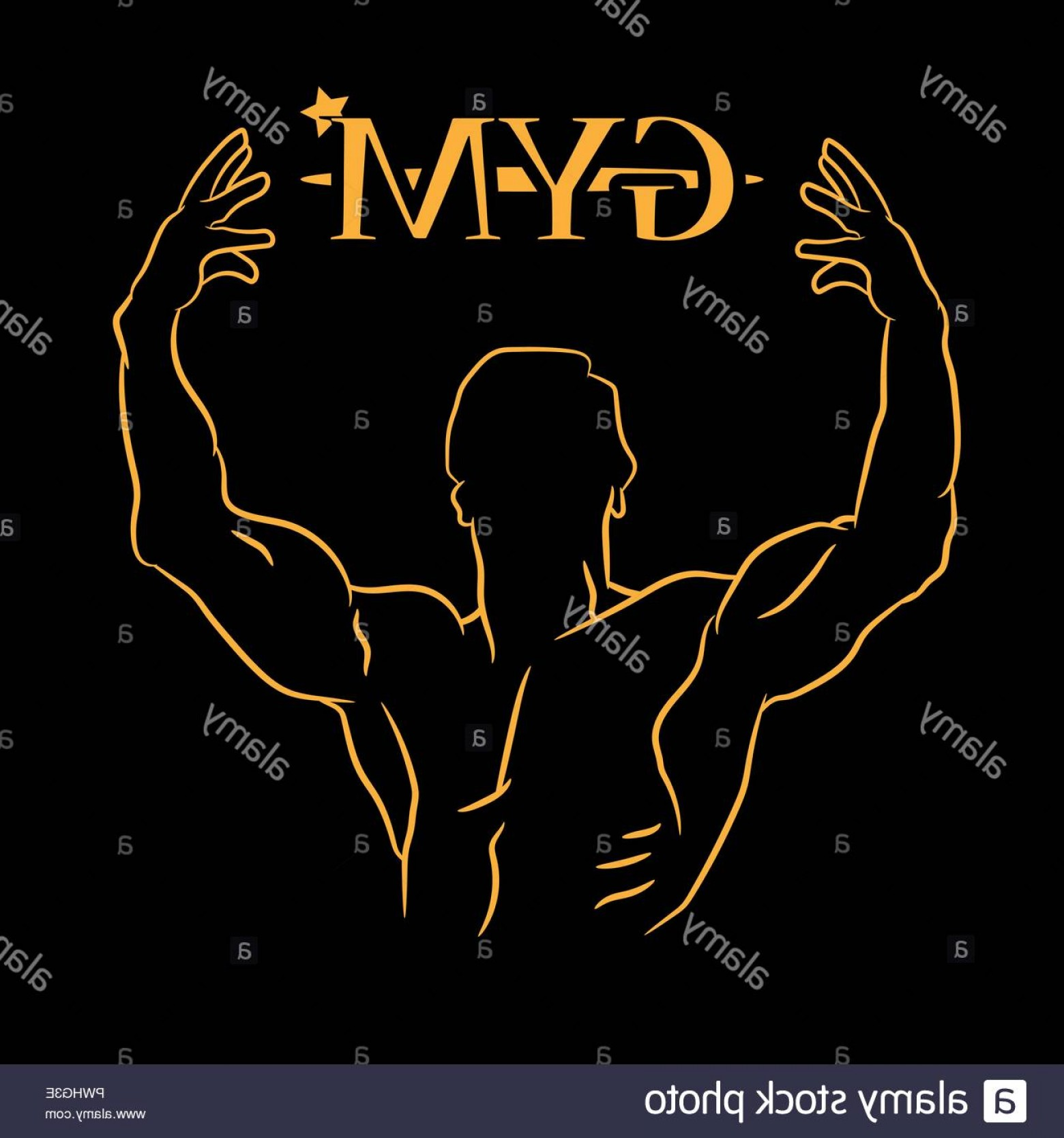 Gold Gym Vector: Gym Icon On A Black Background Vector Illustration Image