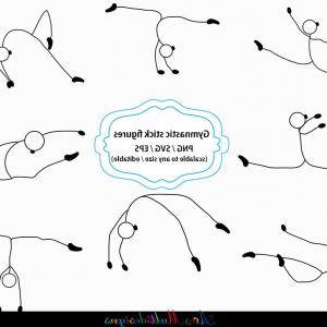 Stick Figure Vector Graphic SVG: Gymnastics Stick Figure Svg Stick Figure Clipart And Silhouette Gymnastics Printable Vector File Black And White Svg Png Eps