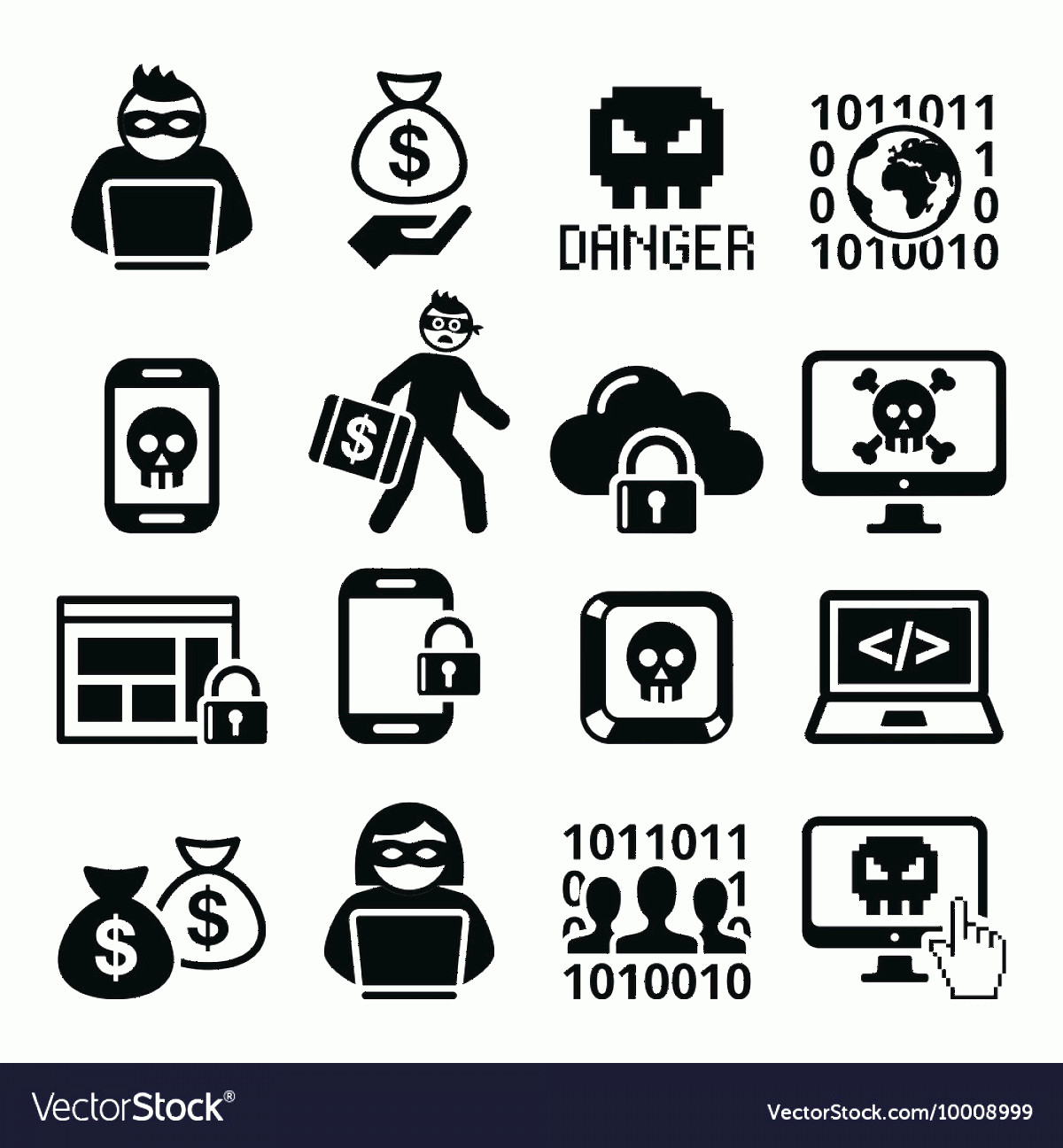 Multi-Vector Attack Plans: Hacker Cyber Attack Cyber Crime Icons Set Vector