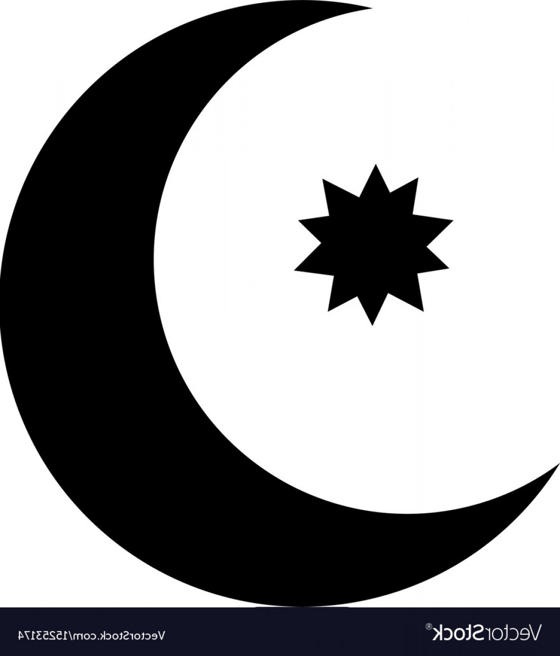 Star And Crescent Moon Vector: Half Moon With Star Con Vector