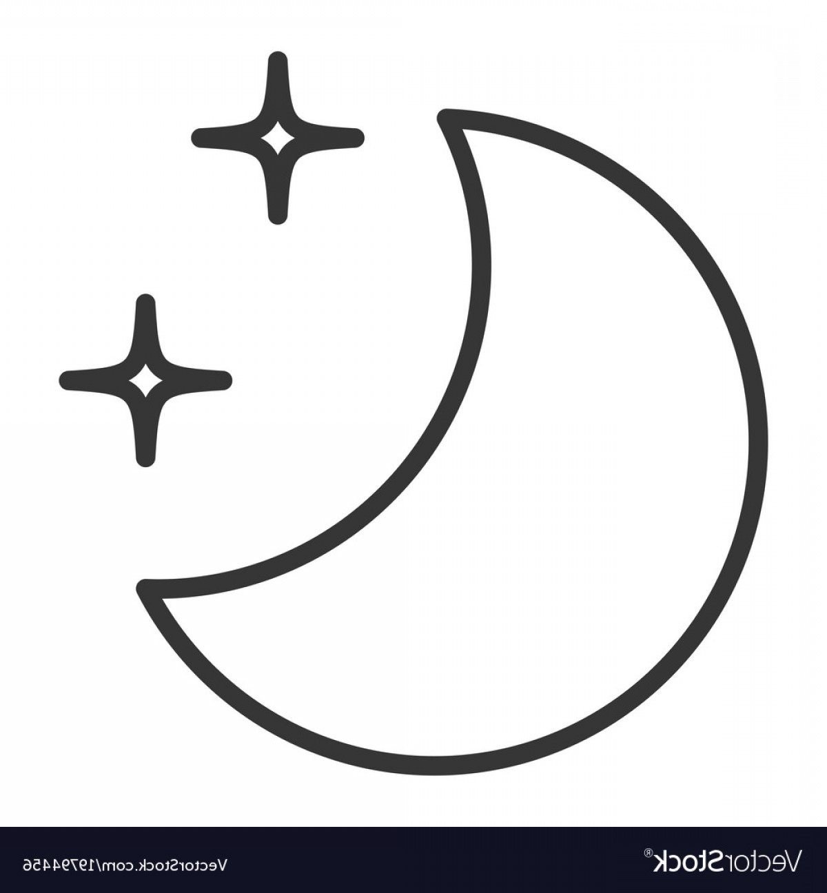 Star And Crescent Moon Vector: Half Moon With Stars Vector