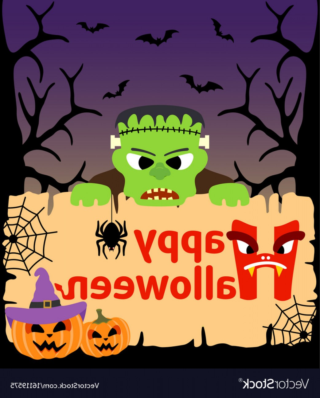 Frankenstein Vector Poster: Halloween Background Card With Frankenstein Vector