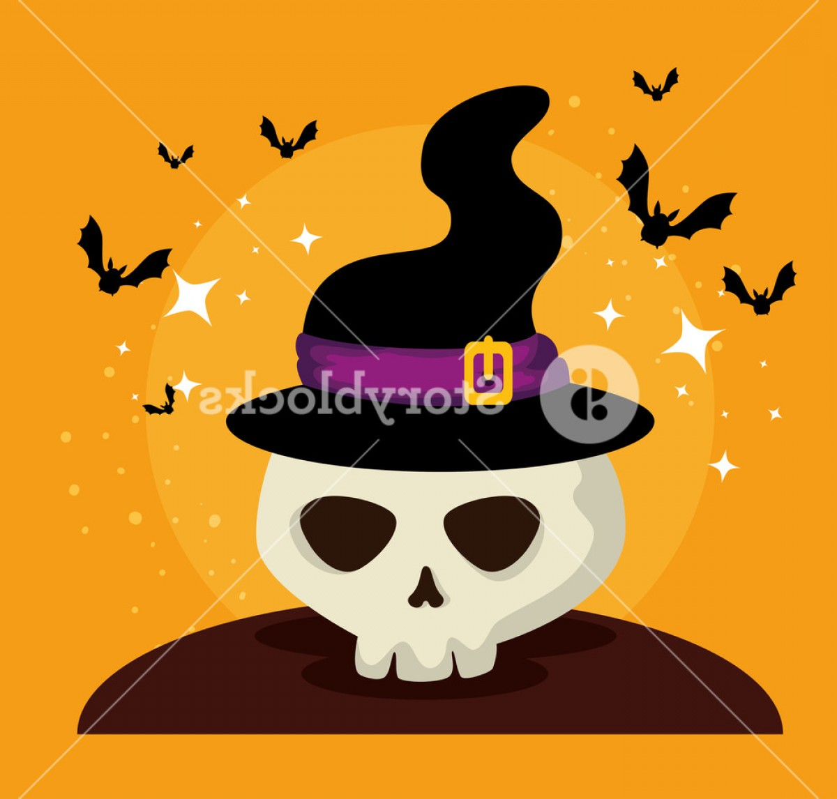 Halloween Witch Hat Vector: Halloween Card With Witch Hat And Skull Vector Illustration Design Sadhrelyjmfuofh