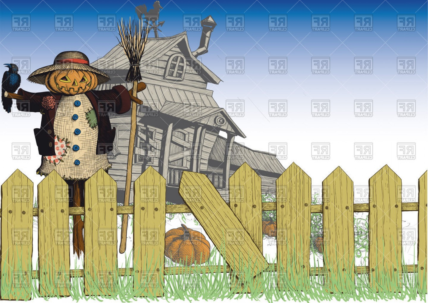 Scarecrow Vector Art: Halloween Card With Wooden Dilapidated House Scarecrow And Fence Vector Clipart