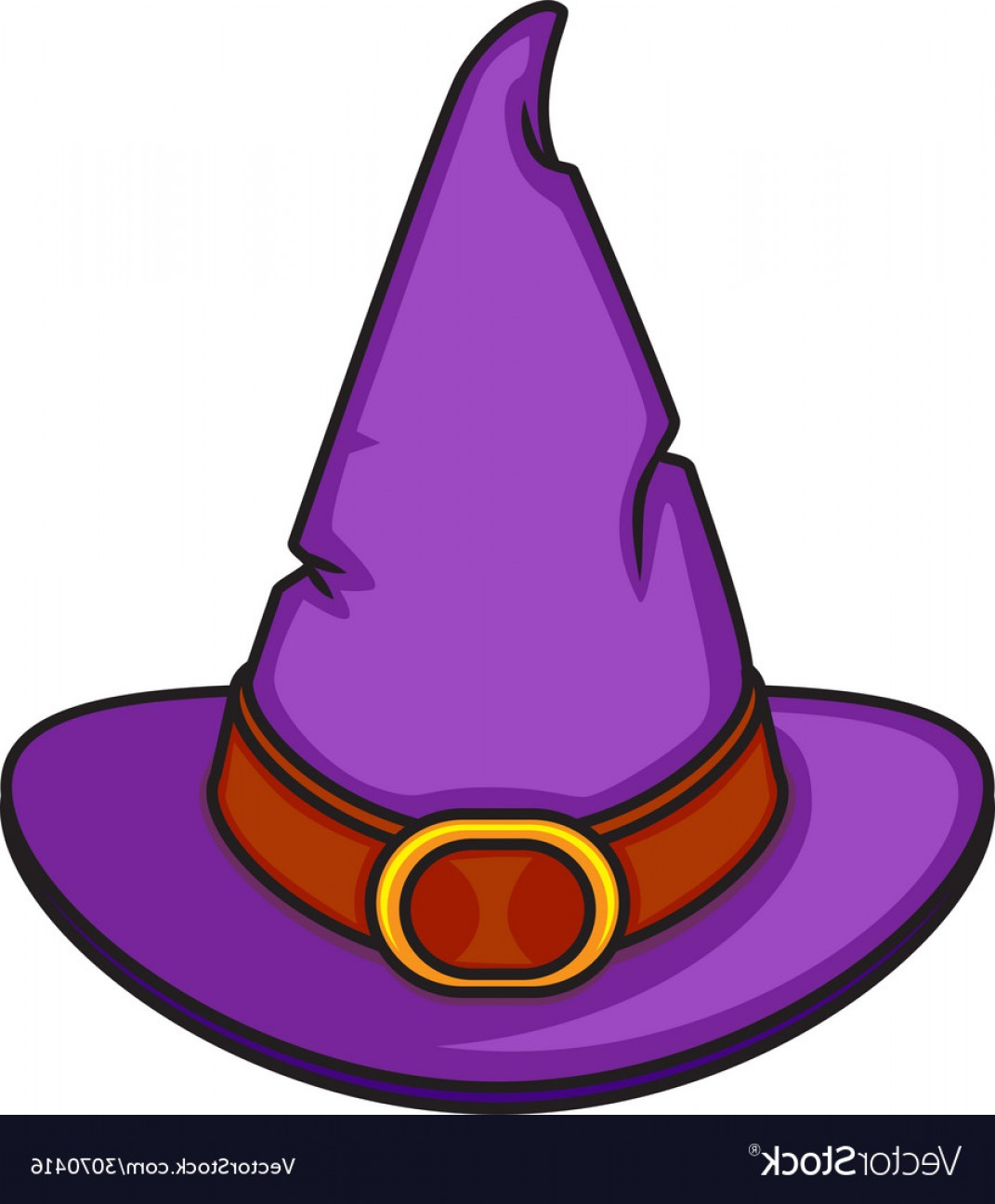 Halloween Witch Hat Vector: Halloween Cartoon Witch Hat Isolated On White Vector