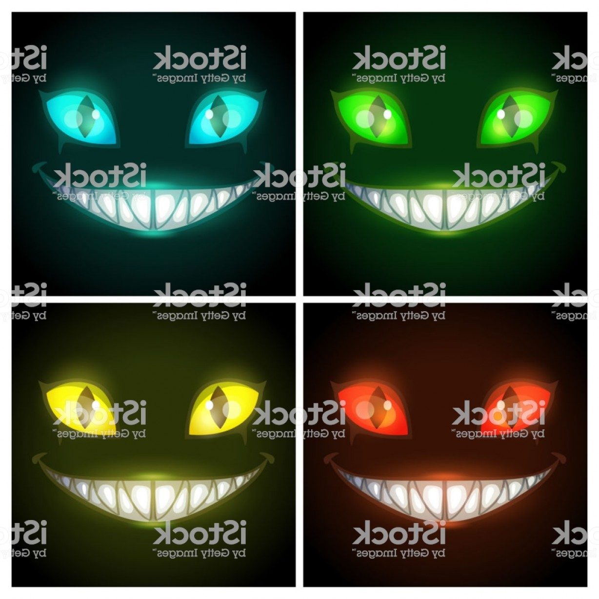 Cool Evil Vectors: Halloween Creepy Posters Set Fantasy Scary Smiling Evil Animal Face On The Black Gm