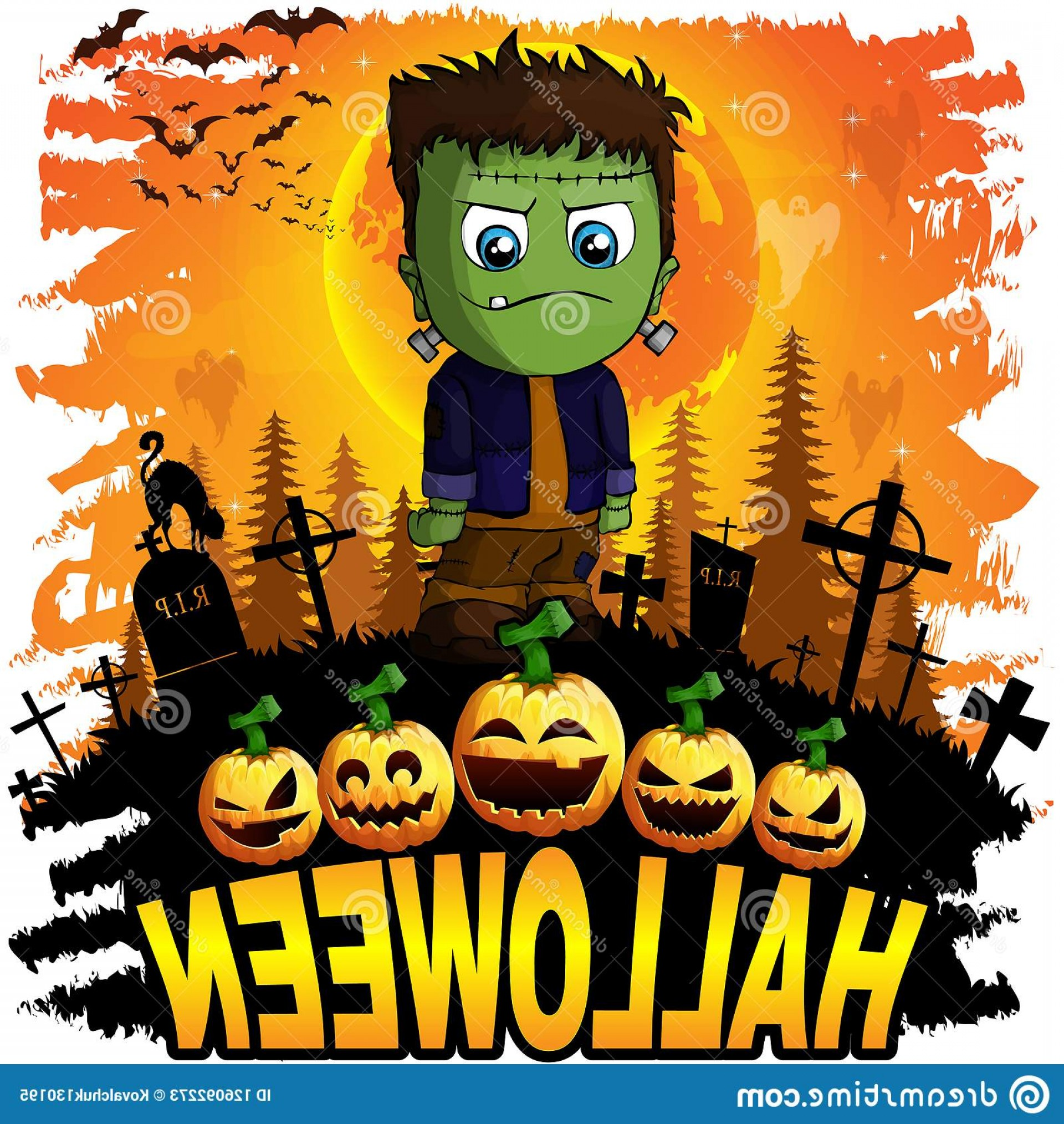 Frankenstein Vector Poster: Halloween Design Template Frankenstein Halloween Design Template Frankenstein Vector Illustration Image