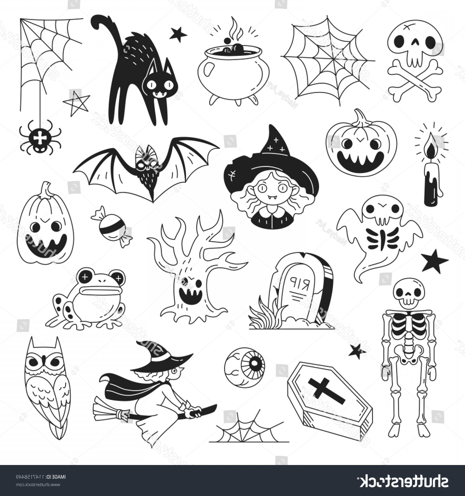 Funny Black And White Vector: Halloween Doodle Collection Vector Illustration Funny