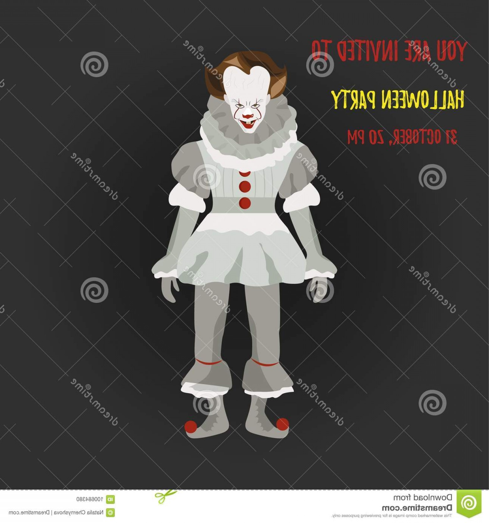 Pennywise Clown Vector: Halloween Evil Pennywise Clown Party Invitation Template Image
