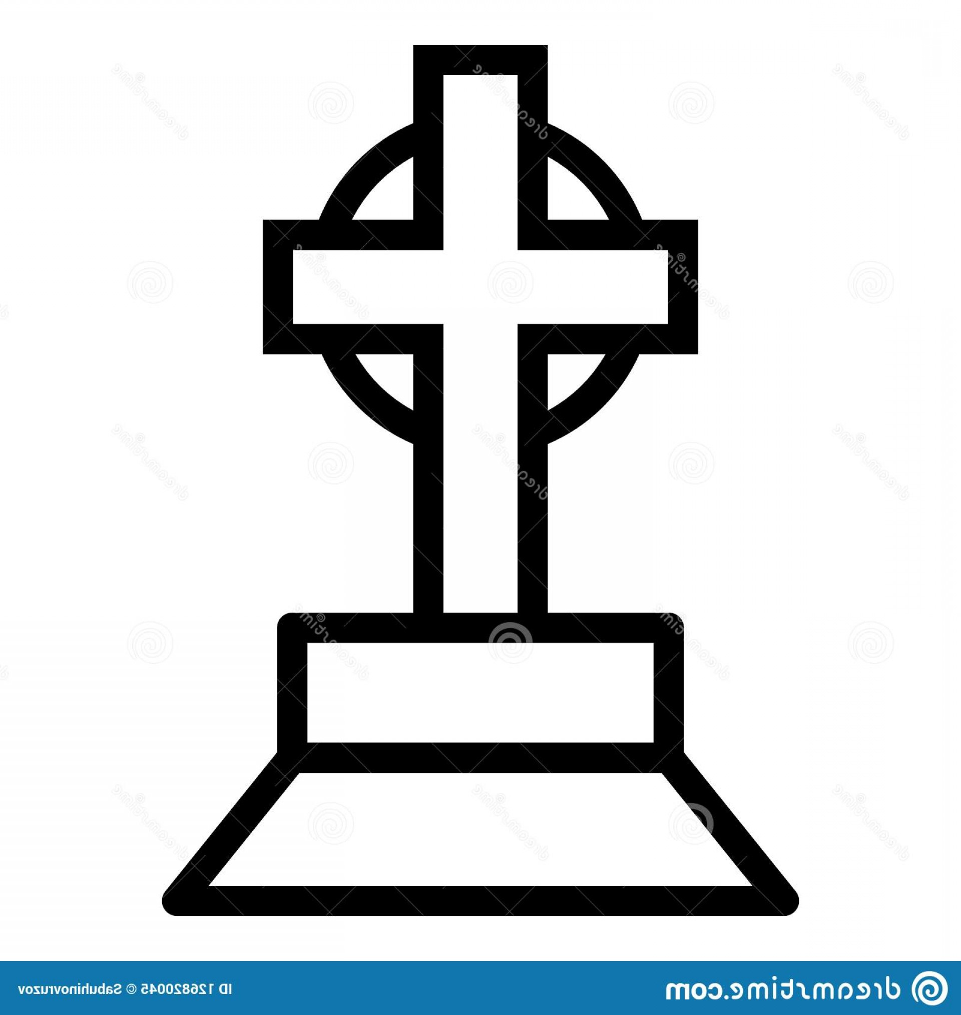 Gravestone Outline Vector: Halloween Grave Cross Line Icon Burial Vector Illustration Isolated White Tombstone Outline Style Design Halloween Image