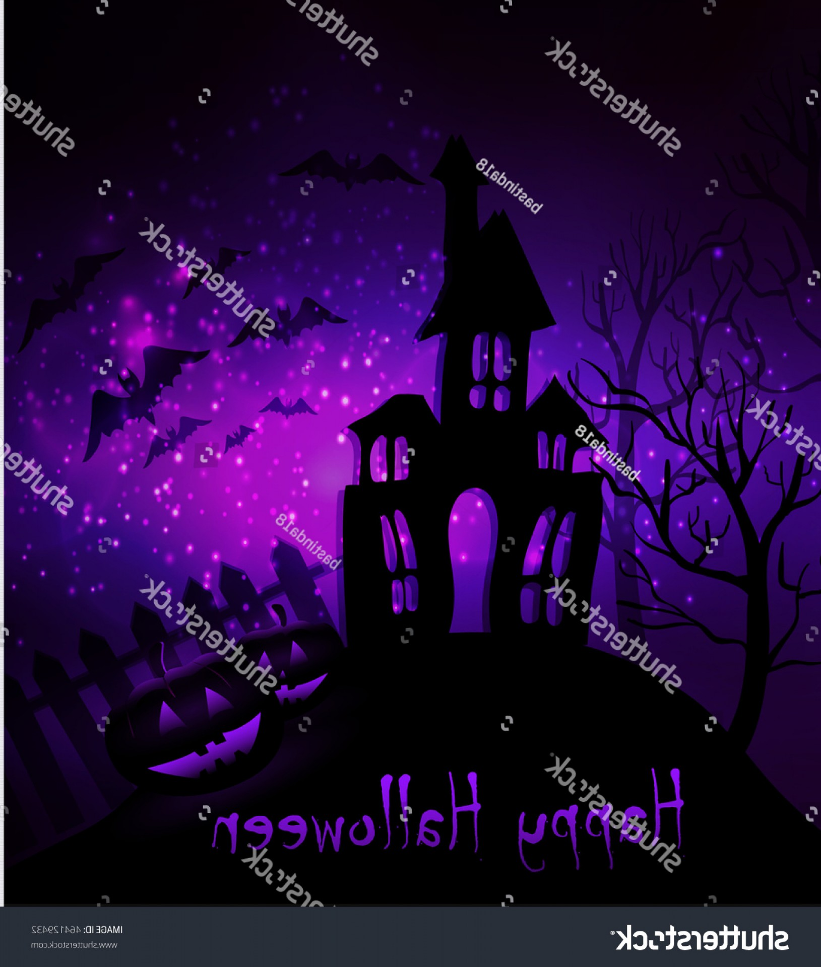 Halloween Haunted House Silhouette Vector: Halloween Haunted House Bats Fence Trees