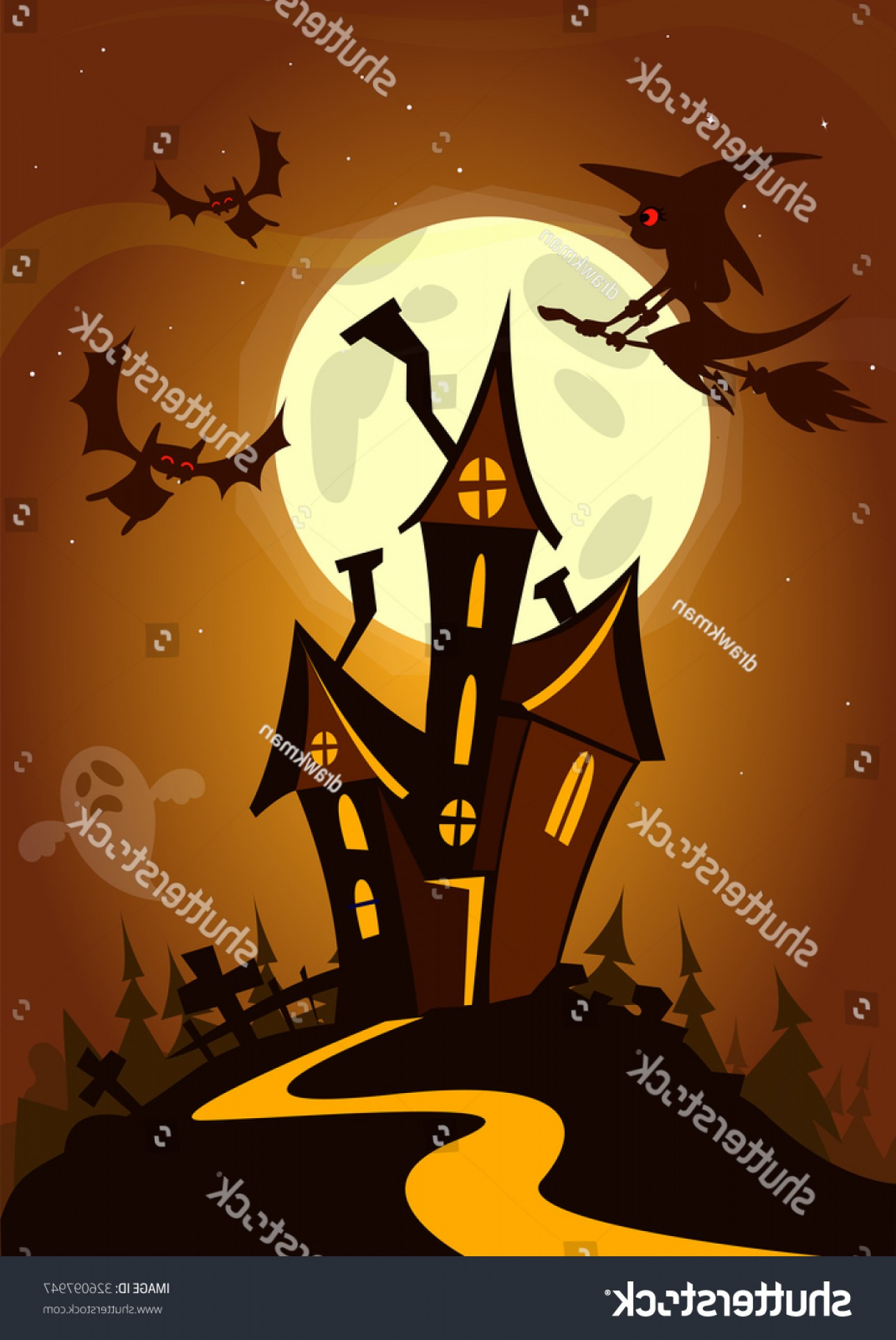 Halloween Haunted House Silhouette Vector: Halloween Haunted House Illustration Vector Background