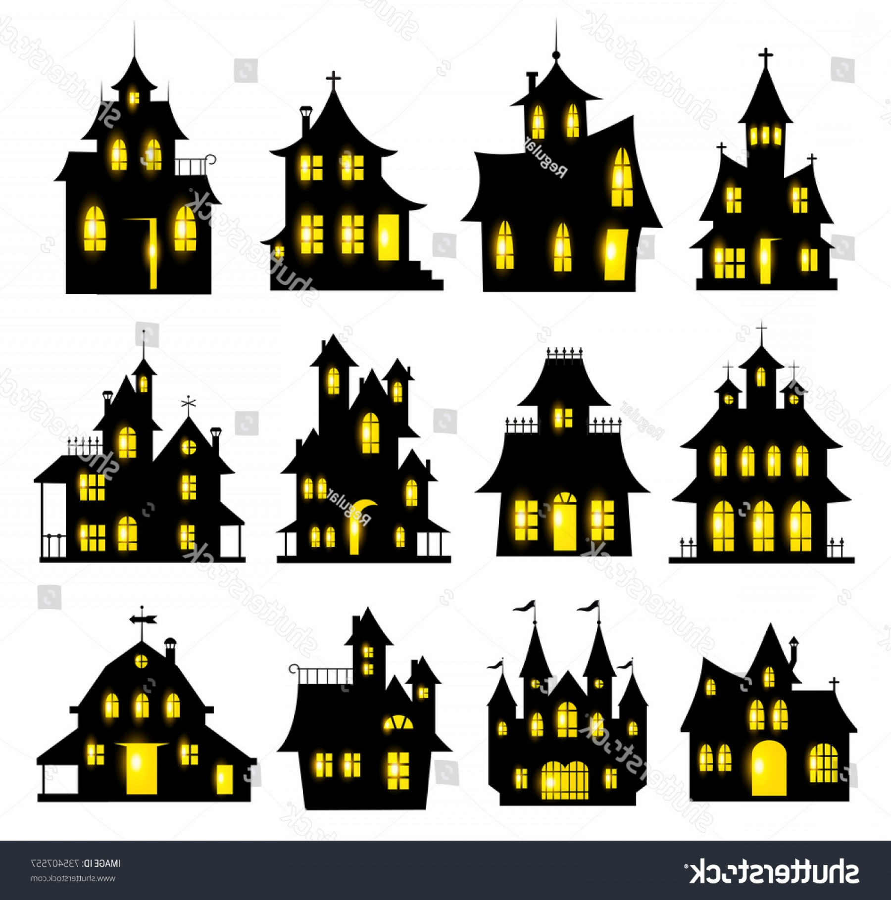 Halloween Haunted House Silhouette Vector: Halloween Haunted House Set Isolated On