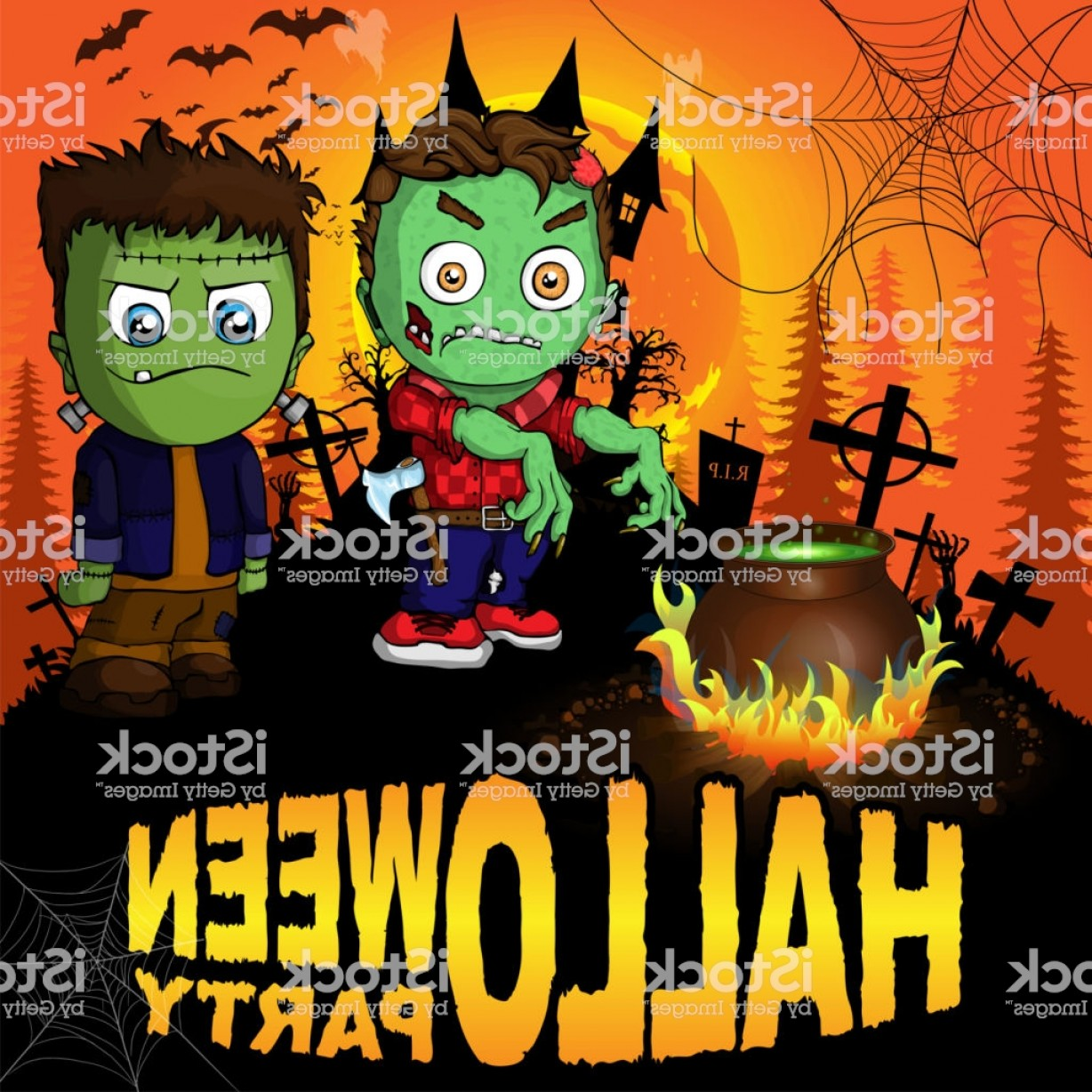 Frankenstein Vector Poster: Halloween Party Poster With Frankenstein And The Zombie Vector Illustration Gm