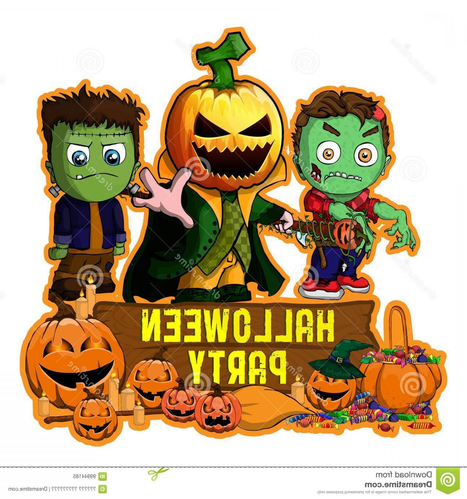 Frankenstein Vector Poster: Halloween Poster Design Vector Zombie Frankenstein Pumpkin Cartoon Characters File Layers Editable Halloween Image
