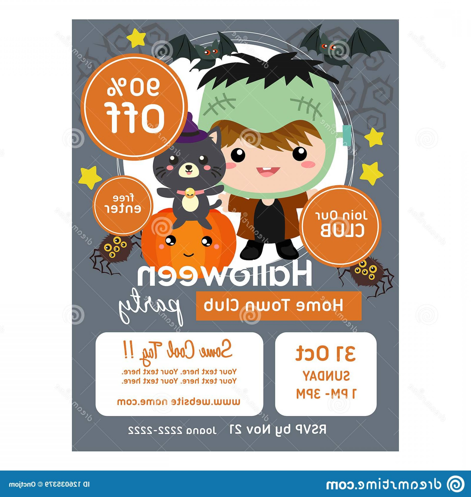 Frankenstein Vector Poster: Halloween Poster Template Frankenstein Kids Cute Halloween Poster Template Frankenstein Kids Image