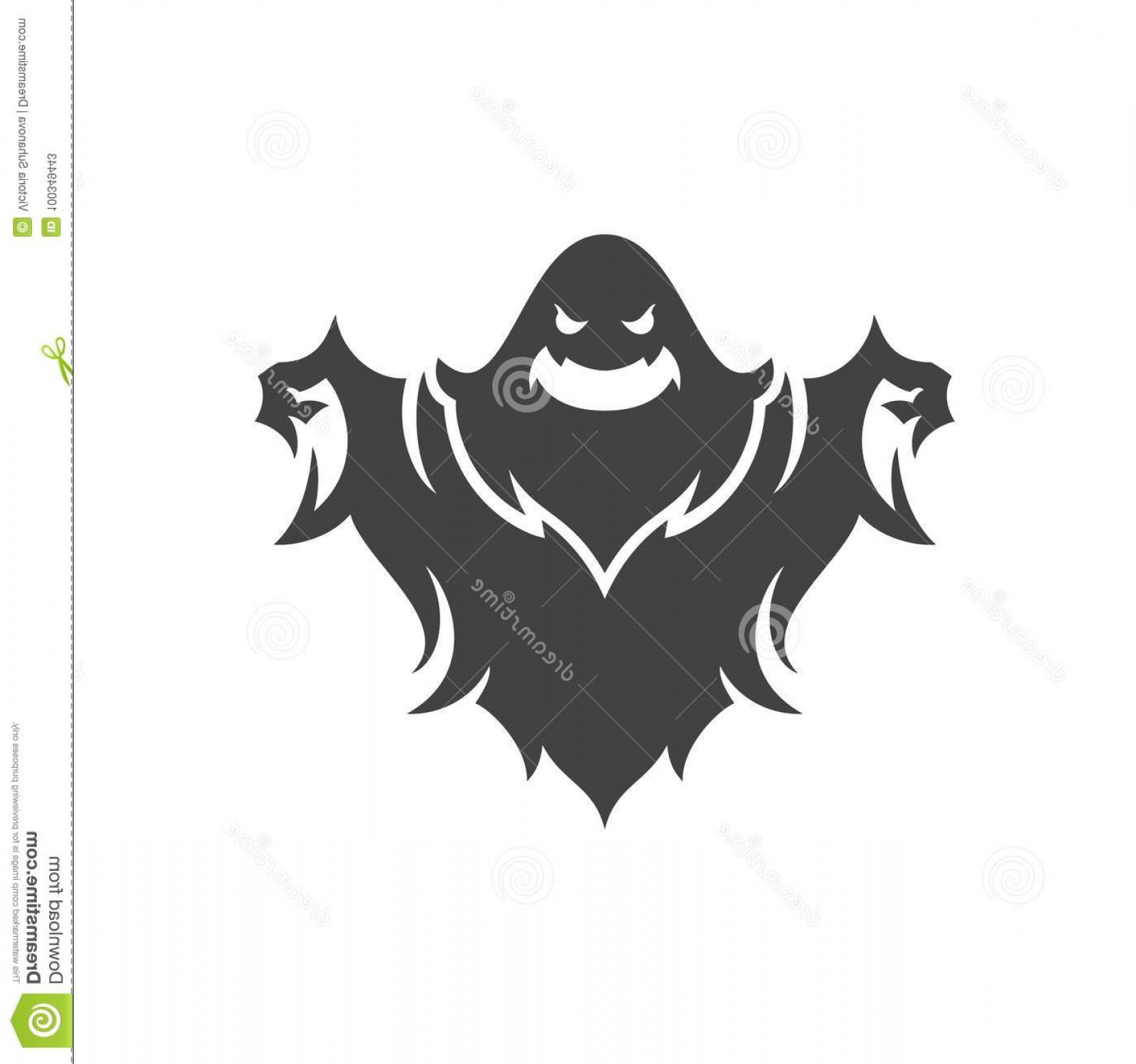 Ghost Vector Black: Halloween Scary Ghost Isolated White Vector Illustration Image
