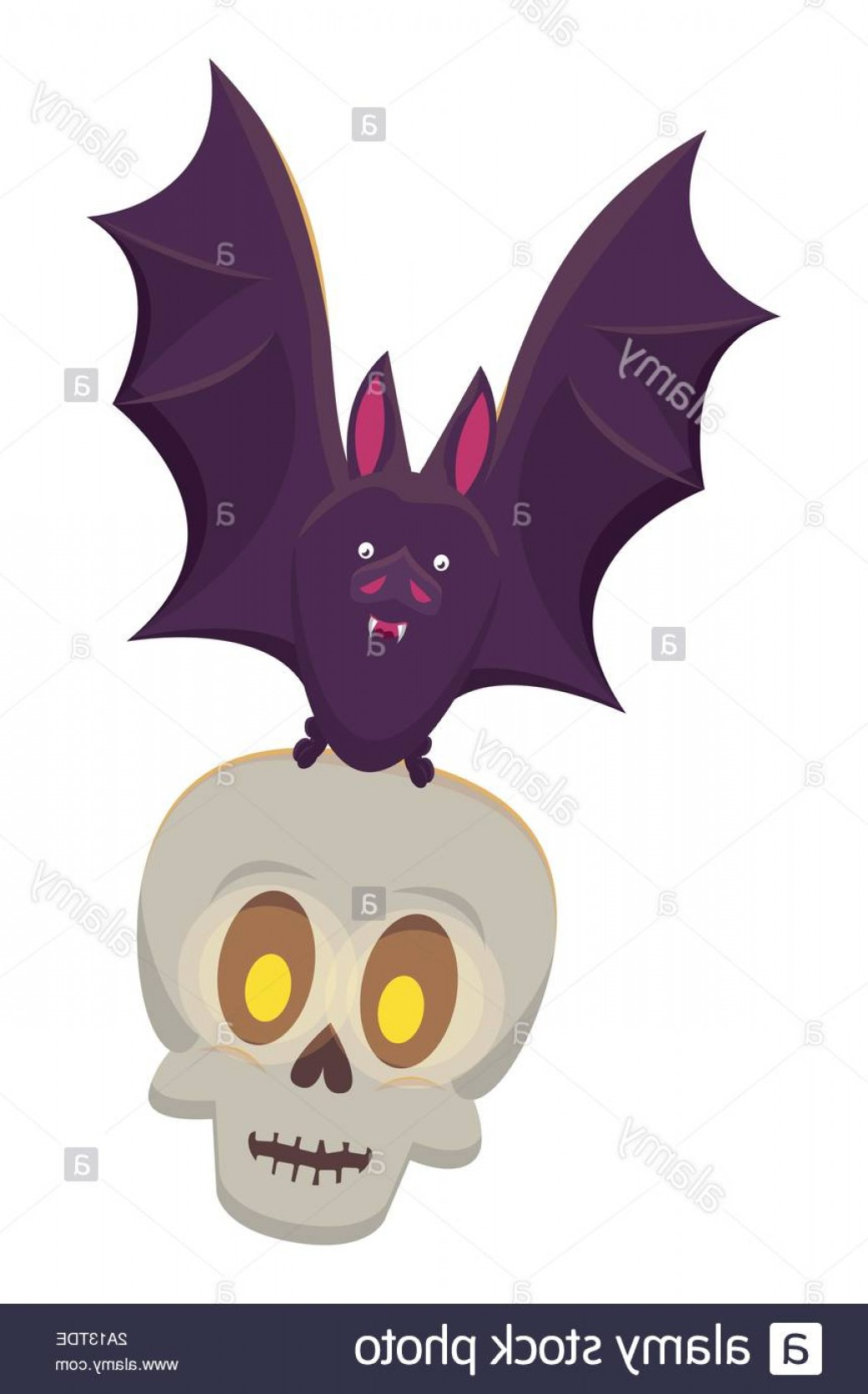 Flying Skull Vector: Halloween Skull Head With Bat Flying Image