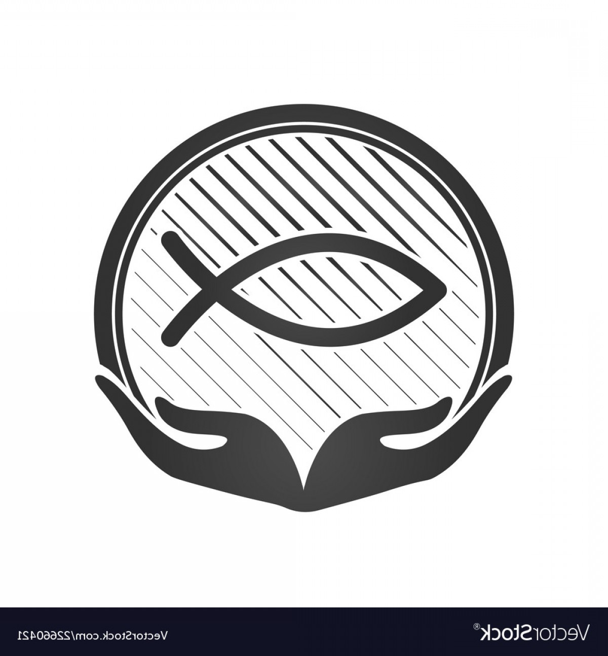Christ Fish Vector: Hand And Jesus Fish Christian Symbol Or Logo Vector