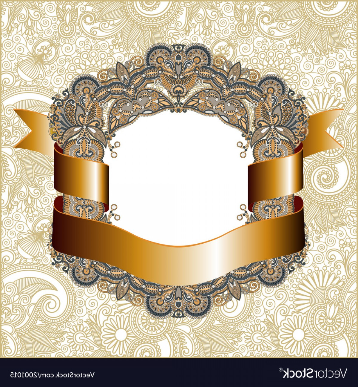 Vector Ornate Vintage Frame Blank: Hand Draw Ornate Vintage Frame With Gold Ribbon Vector
