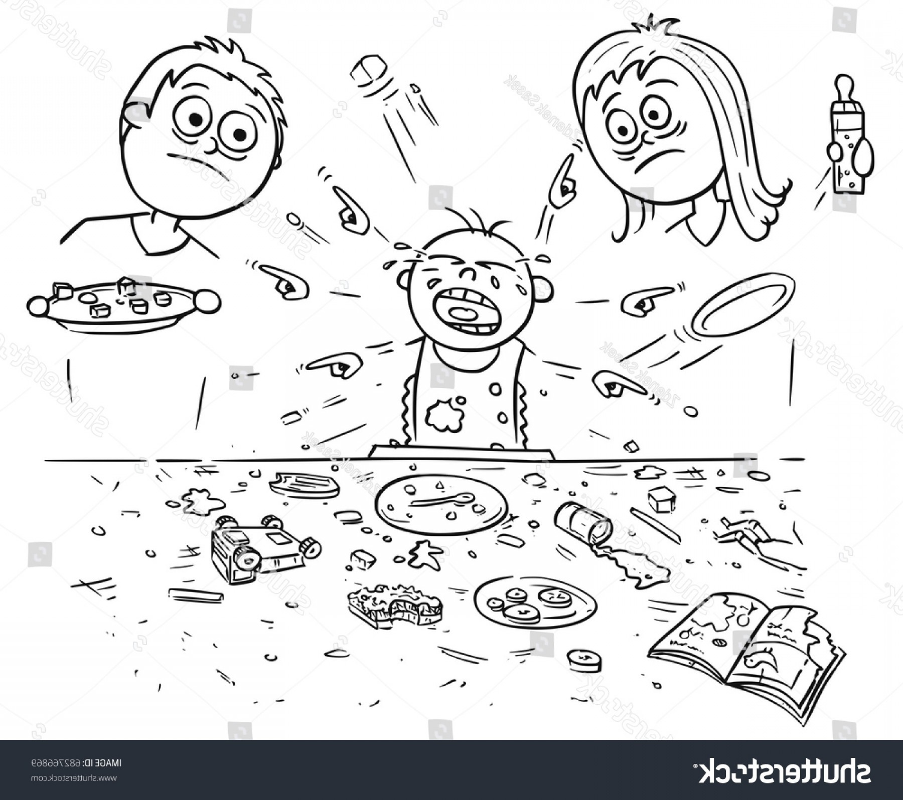 Noise With Pointing Vector: Hand Drawing Cartoon Vector Illustration Spoiled