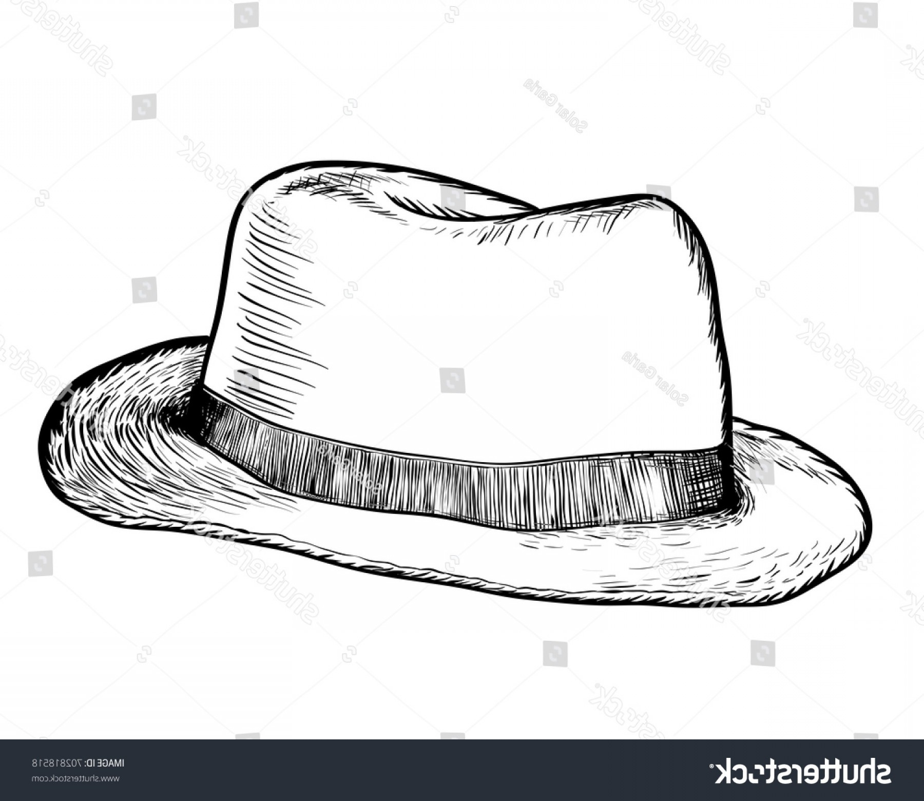Cowboys Line Drawings Vector: Hand Drawing Cowboy Hat Black White