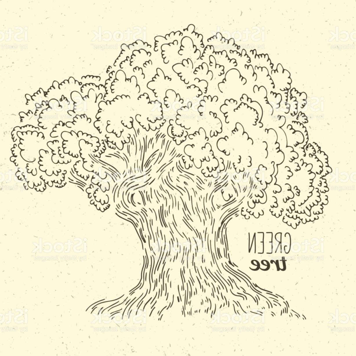 Oak Tree Silhouette Vector Graphics: Hand Drawing Graphics Doodle Oak Tree In Simple Icon Gm