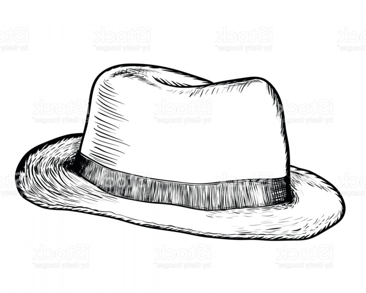Texas Vector Drawing: Hand Drawing Of Cowboy Hat Vector Drawn Illustration Gm