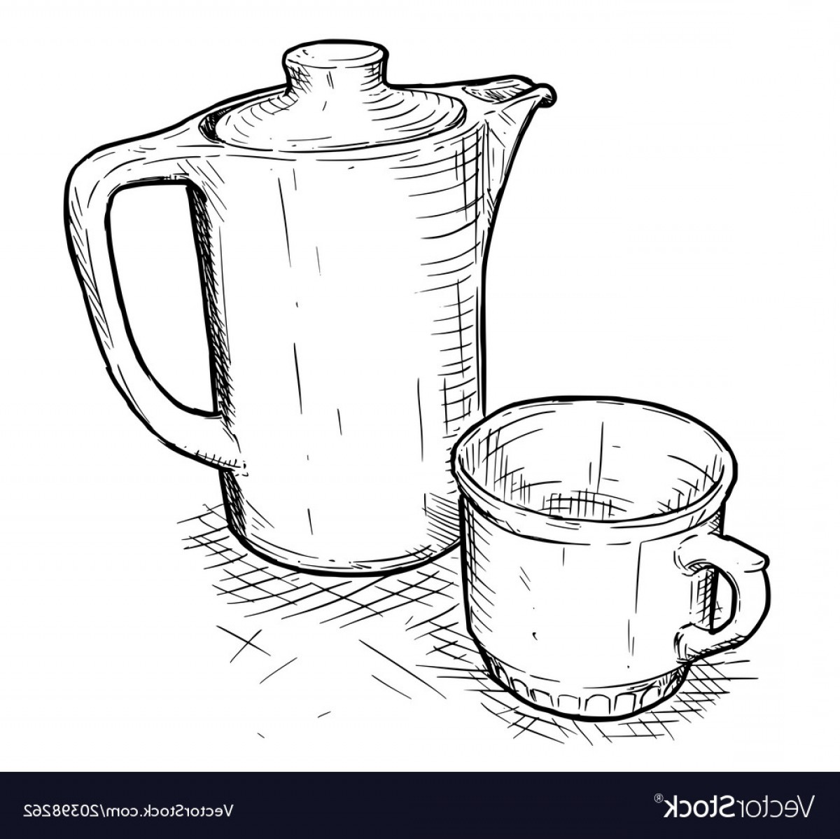 Teapot And Cup Vector: Hand Drawing Of Teapot And Cup Vector
