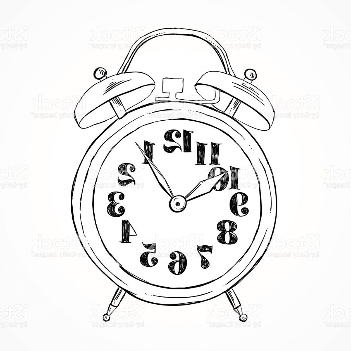 Old Floor Clock Vector: Hand Drawn Alarm Clock Vector Sketch Illustration Gm