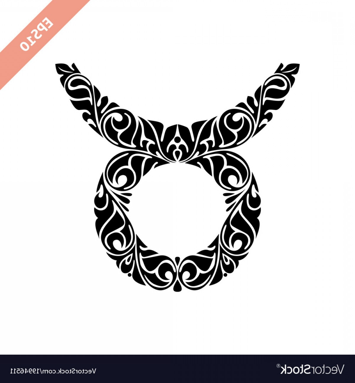 Taurus Vector: Hand Drawn Black Ornate Horoscope Symbol Taurus Vector