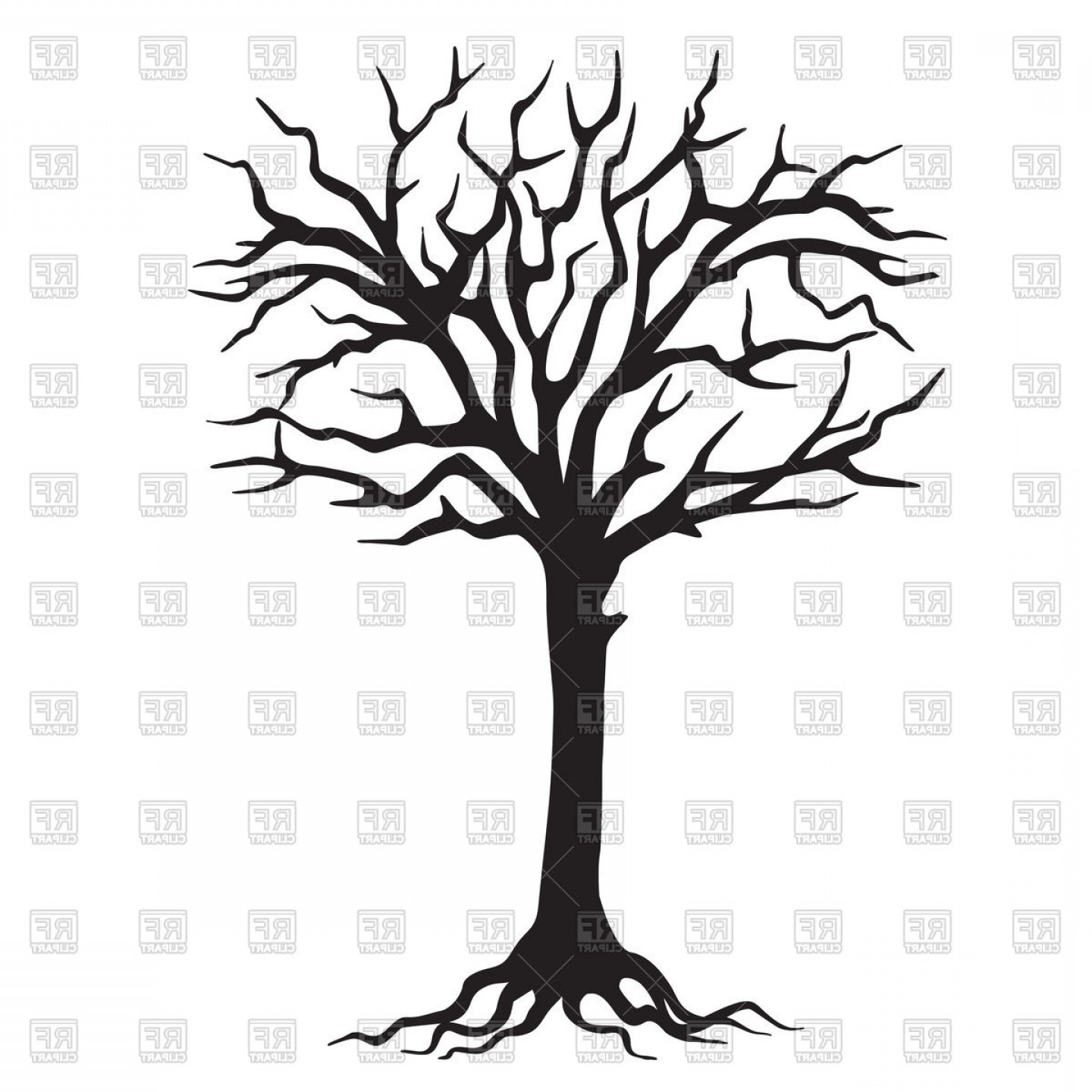 Tree Silhouette Vector Clip Art: Hand Drawn Black Silhouette Tree With Roots Vector Clipart