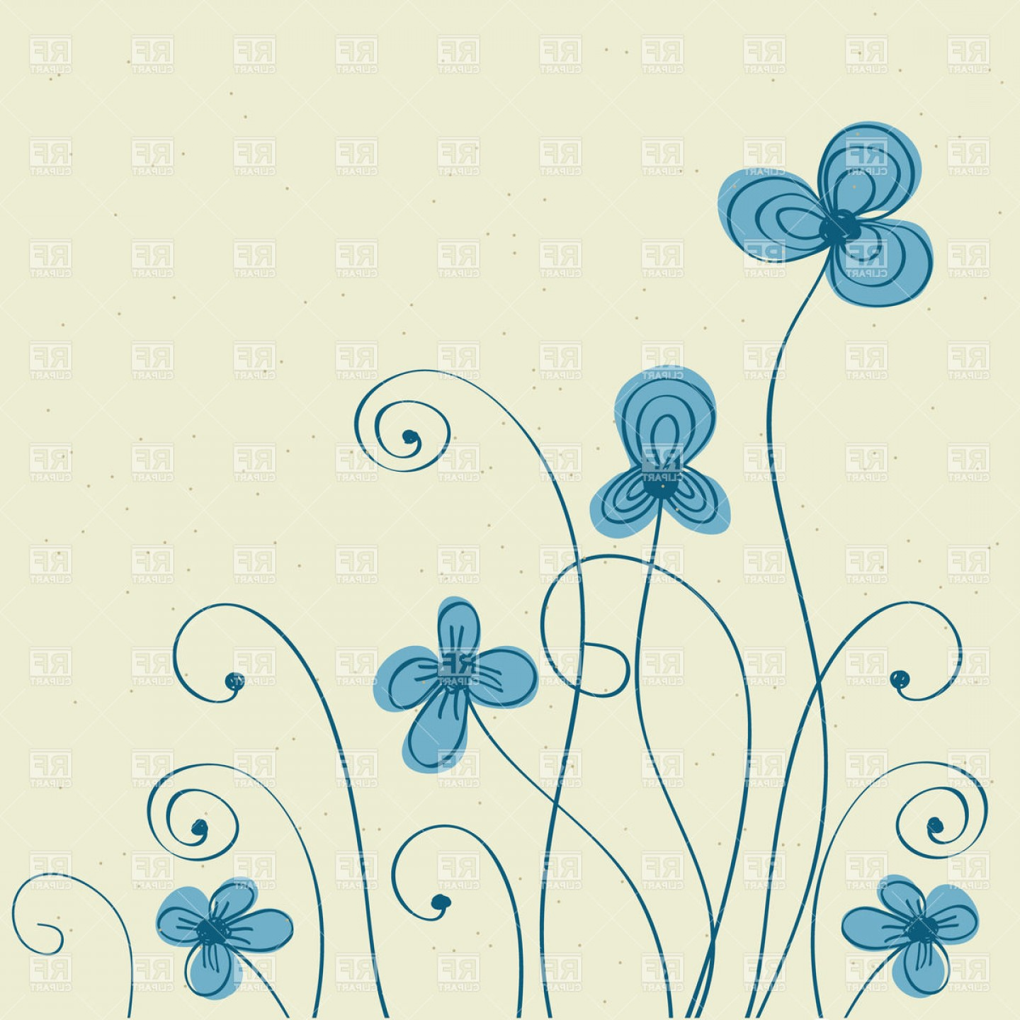 Turquoise Flower Vector: Hand Drawn Blue Flowers Vector Clipart