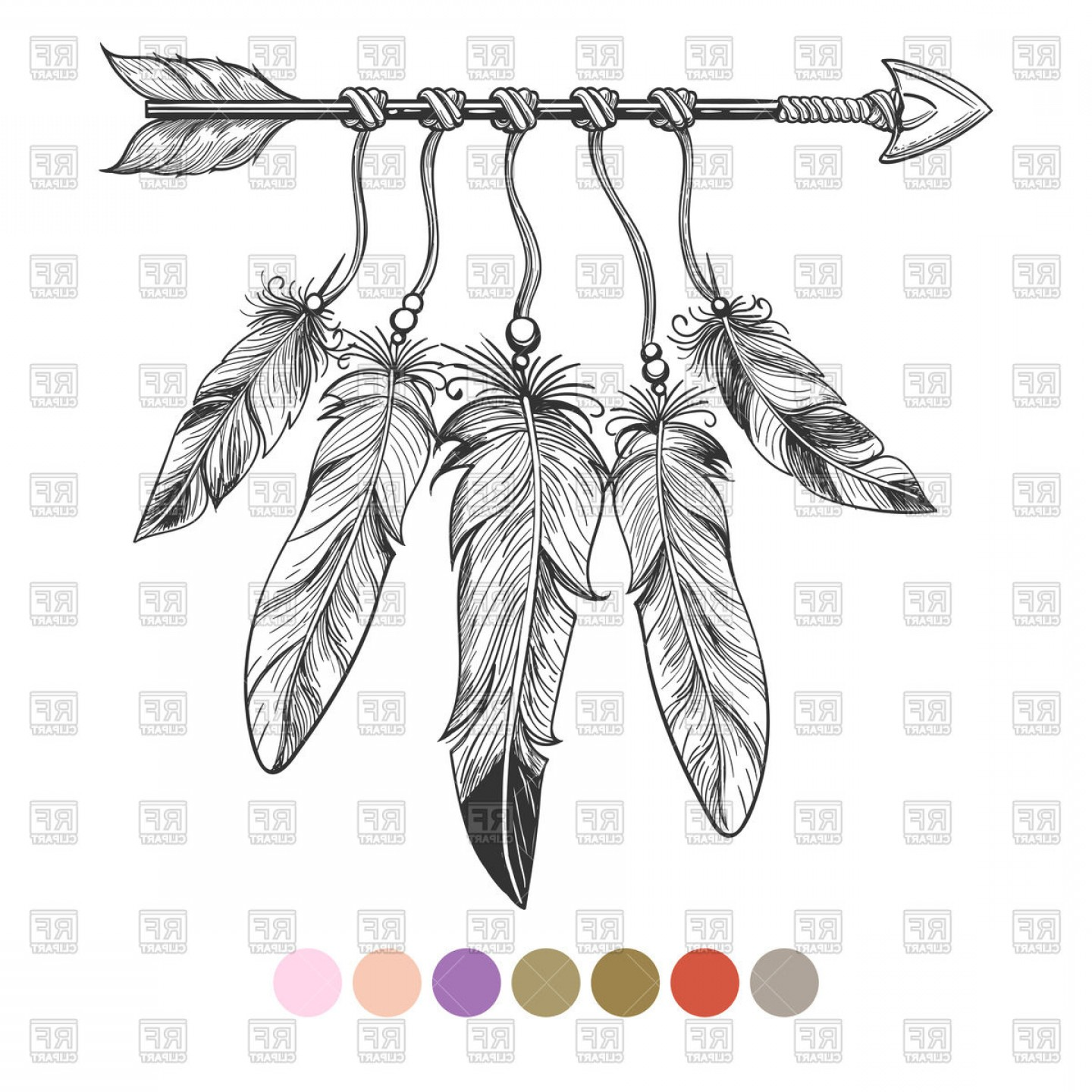 Vector Drawing Feathers: Hand Drawn Boho Element Arrow And Feathers Vector Clipart