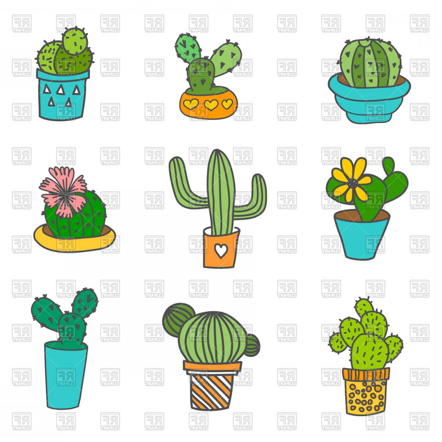 Cactus And Flower Vector: Hand Drawn Cactus Icons In Flower Pot Vector Clipart
