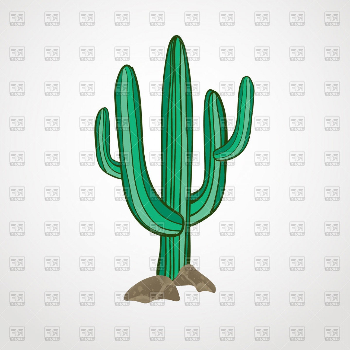 Cactus And Flower Vector: Hand Drawn Cactus Vector Clipart