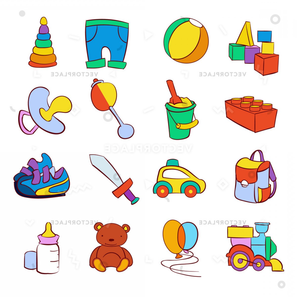 Baby Toy Vector: Hand Drawn Cartoon Baby Toys Set Vector Illustration
