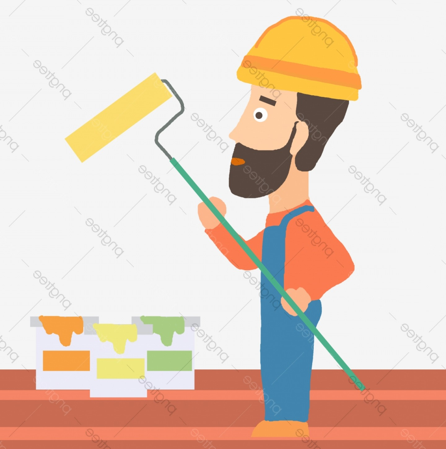 Worker Vector: Hand Drawn Cartoon Paint Worker Vector