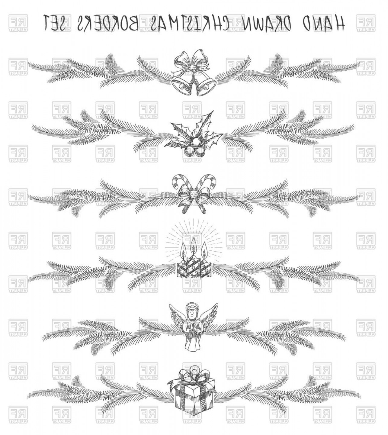 Christmas Divider Vector: Hand Drawn Christmas Borders Vignettes And Dividers Vector Clipart