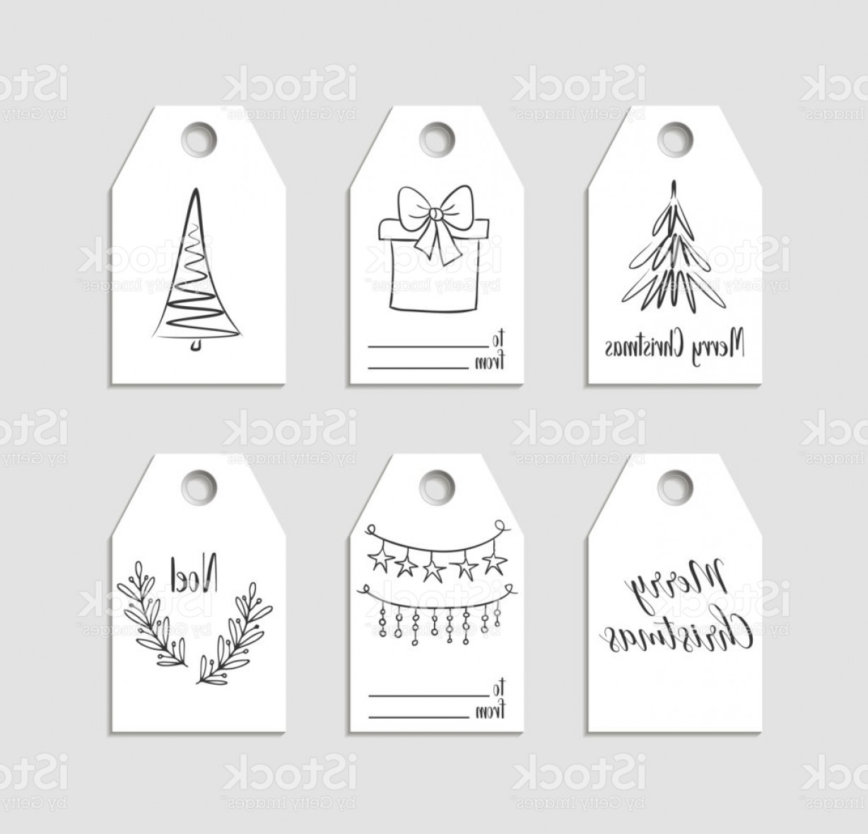 Gift Tags Vector Art: Hand Drawn Christmas Gift Tags Vector Labels Gm