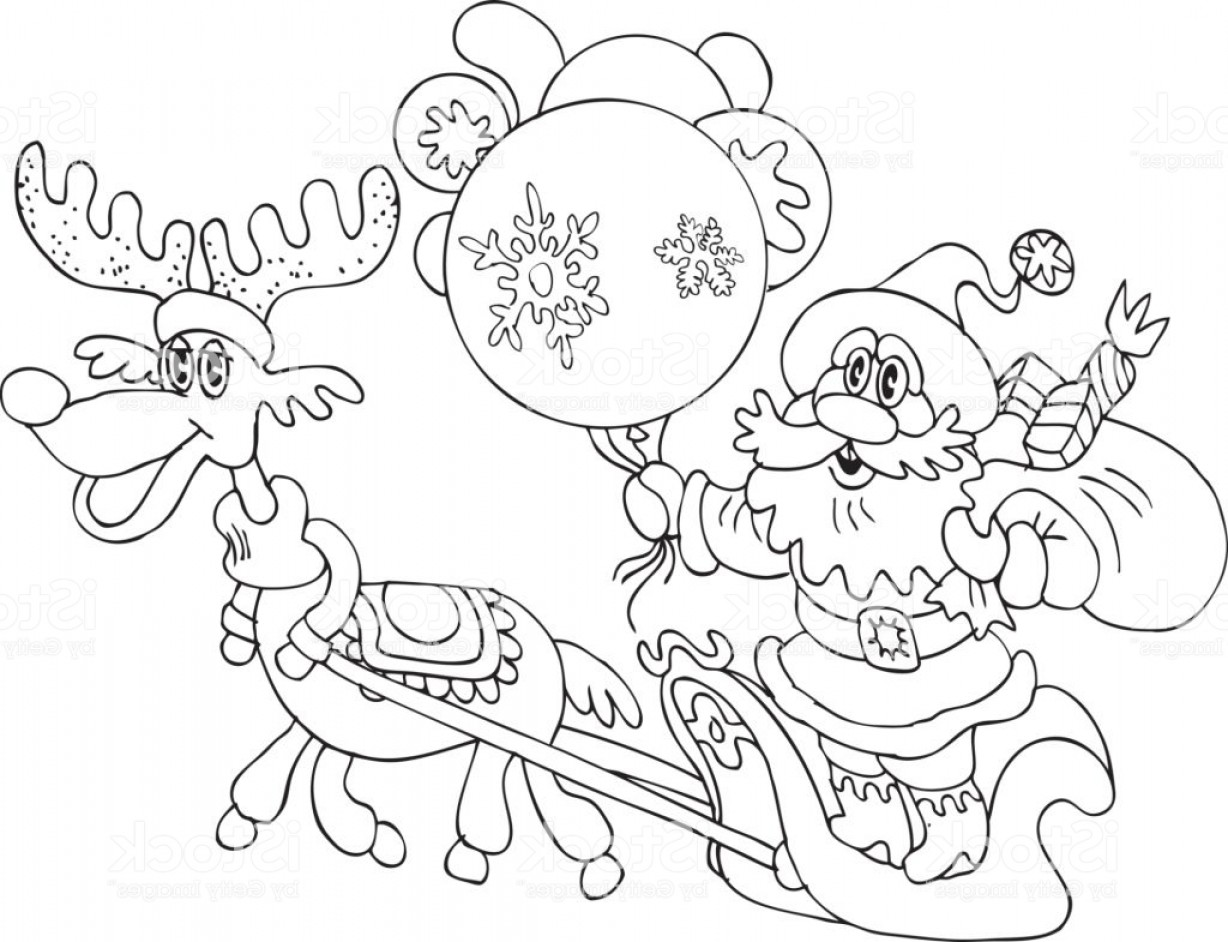 Black And White Holiday Deer Vector: Hand Drawn Christmas Holiday Scene With Santa Clause And Deer Gm