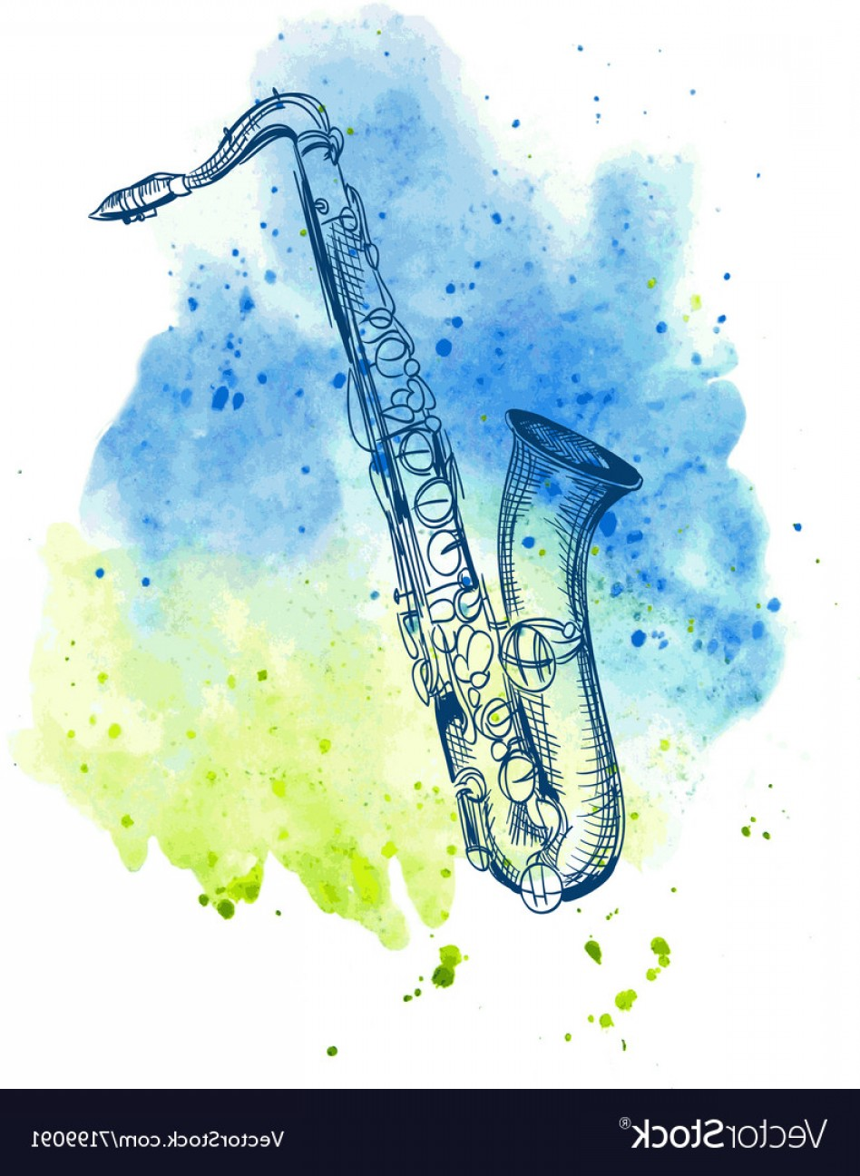 Alto Saxophone Vector Graphics: Hand Drawn Classical Alto Saxophone Vector