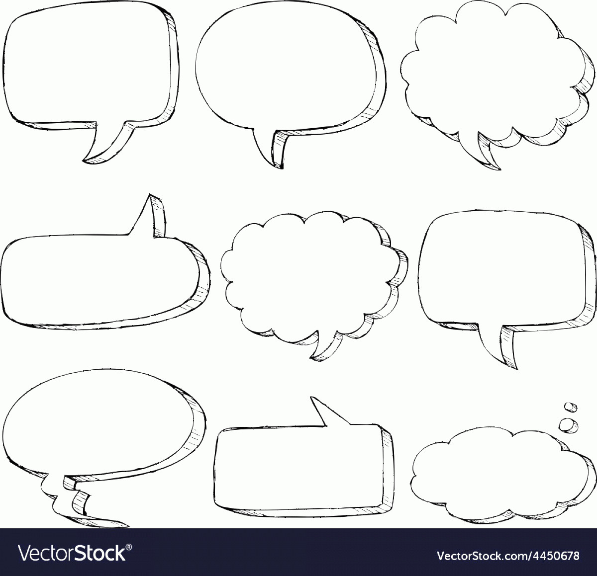 Thought Bubble Vector Sketch: Hand Drawn Comic Speech Bubble Vector